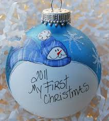 hand painted personalized baby u0027s first christmas ornament