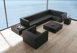 Furniture Contemporary Black Wicker Sofa Set For Outdoor With - Modern outdoor sofa sets