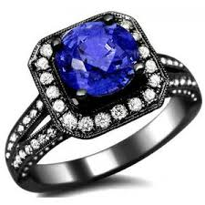 black gold sapphire engagement rings 2 45ct blue sapphire ring 18k black gold fro