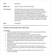 Sample Resume For Bookkeeper by Full Charge Book Keeper Job Description Sample Pdf Free Download