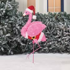 3D Christmas Lighted Santa Suit Hat Pink Fluffy Flamingo Outdoor