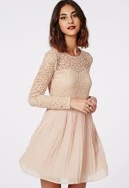 jenzine long sleeve pleated skirt lace skater dress long