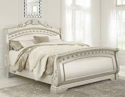 north shore pearl silver king sleigh bed