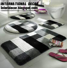 designer bathroom rugs black and white bathroom rugs envialette