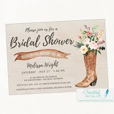 rustic bridal shower invitations cowboy boot rustic bridal shower invitation country boho chic