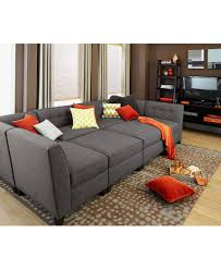 Harper Fabric 6 Piece Modular Chaise Sectional Sofa Custom Colors