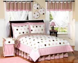 twin bedding sets for girls pink u0026 brown polka dot comforter bedding set kidsroomstore