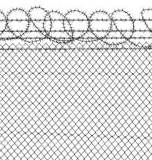 prison barbed wire chain link fence stock vector art 165750445