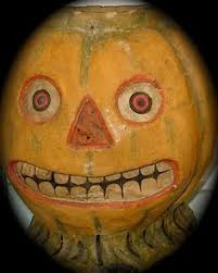 Halloween Pumpkin Lantern - antique early 1900s original tin halloween pumpkin jack o lantern