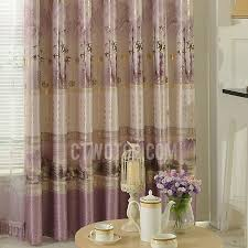 Thick Purple Curtains Pattern In Gold Color Thick Purple Polyester Pastoral Living Room