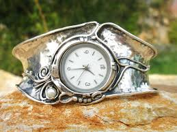 silver bracelet watches images Handcrafted 925 sterling silver watch cuff bracelet pearl jpg