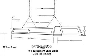 pool table light size accessories
