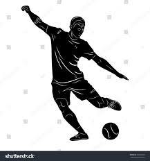 vector sketch soccer player player shootingwhite stock vector
