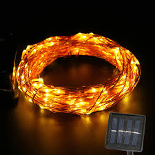 solar powered copper wire string light 15m outdoor waterproof