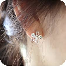diamond earrings on sale ms retro flash diamond 5 leaf flower earrings earrings women and