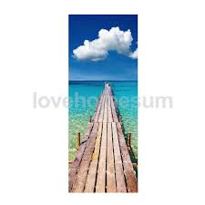 Door Decals For Home by 3d Door Stickers Seaside Scenery Pattern Wall Decal For Home