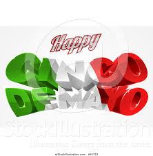 vector illustration of a 3d mexican flag colored happy cinco de