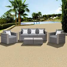 Wicker Patio Furniture Atlantic Contemporary Lifestyle Mustang 5 Piece All Weather Wicker