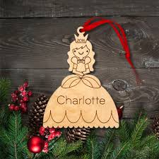 princess ornament handcrafted wooden personalized christmas