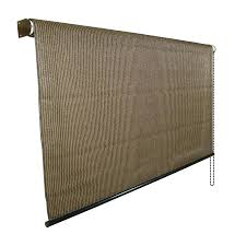 Roll Up Window Shades Home Depot by Mocha Light Filtering Exterior Shade Common In Actual Outdoor