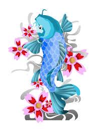 black and white koi fish and japanese flowers tattoo free design