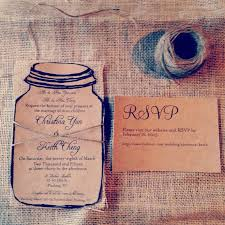 rustic kraft mason jar wedding invitation with natural burlap and