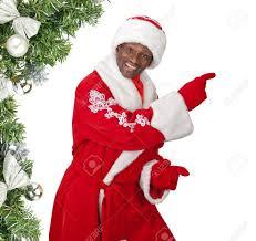 surprised black santa claus on a white background stock photo