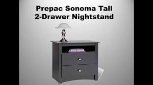 prepac sonoma tall 2 drawer nightstand youtube