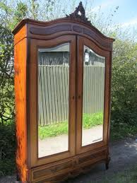 Armoires Wardrobe Antique French Mahogany Louis Xv Style 2 Door Mirrored Armoire