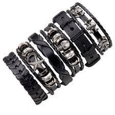 hand bracelet men images 6pcs black leather bracelet men woman braid bracelets with metal jpg
