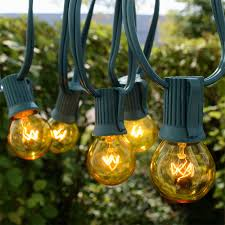 Yellow C9 Lights 25 Commercial Yellow Globe Light Strand Green Wire