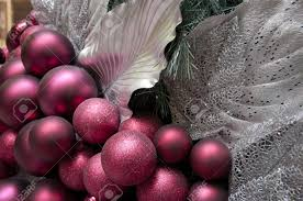 Large Christmas Decorations by Burgundy And Silver Decorations On A Large Christmas Tree Stock