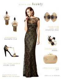 evening wedding guest dresses black and gold lace evening gown