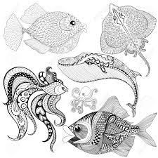 hand drawn fishes whale octopus stingray for anti stress