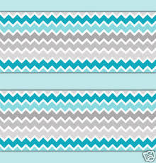 turquoise teal blue grey gray ombre chevron wallpaper border wall