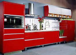 marvelous contemporary red color kitchen design acha homes