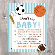 baby shower sports invitations don u0027t say baby sign baby shower game printable sports
