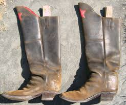 mens leather riding boots mens calvary boots distressed leather red star for sale at 1stdibs