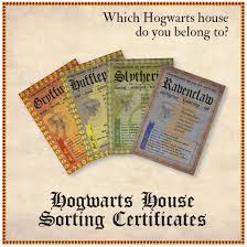 Harry Potter House by Hogwarts House Certificates