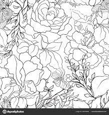 pattern drawing illustrator roses seamless pattern stock line vector illustrator stock