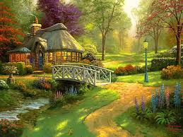 thomas kinkade friendship cottage art painting for your favorite thomas kinkade friendship cottage painting on canvas or frame at