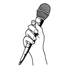 illustration vector doodle hand drawn of sketch hand holding mic