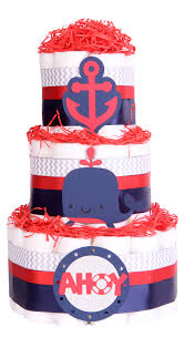 nautical seaside navy red baby shower nappy cake hamper gift