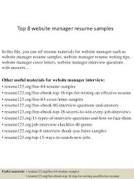 Website Resume Examples Top 8 Website Manager Resume Samples 1 638 Jpg Cb U003d1427853668