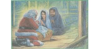 santa kneeling at the manger i saw santa kneeling at the manger
