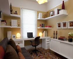 Luxury Home fice Decorating Ideas With Sofa And White Bookcase Color Also Using Decorative Lights