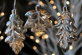 mercury glass string lights silver mercury glass string lights leaf design battery operated