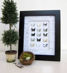 french shabby chic black and white paper butterfly collection home