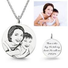 personalized necklace charms photo engraved necklace