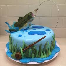 fly fishing cake for my hubby bass jumping out of water bass